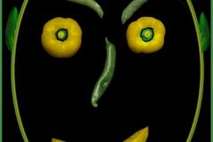 J-L B : Poivrons jaunes, piment vert, banane, persil, pois, artichaut